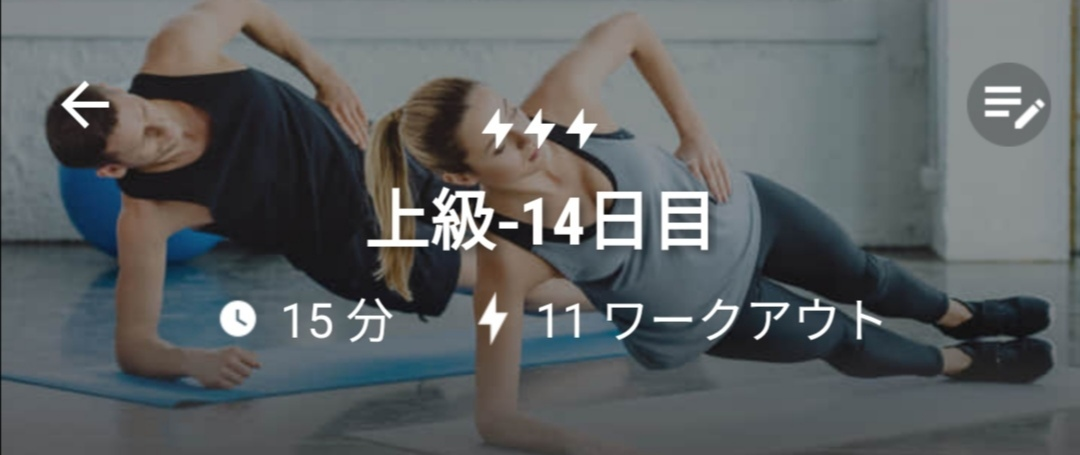 体幹トレーニング14日目(13日目は休息日の設定)